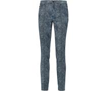 Printed High-rise Skinny Jeans Rauchblau