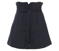 Belted Pinstriped Woven Shorts