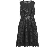Faux Leather-appliqu&eacuted Lace Dress Schwarz