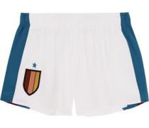 Striped silk-appliquéd stretch-cady shorts