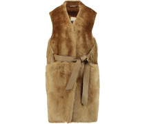 Plutosa Belted Leather-trimmed Shearling Gilet Camel