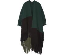 Color-block Fringed Wool-blend Felt Poncho Tannengrün