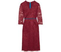 Zip-embellished Lace Midi Dress Burgunder