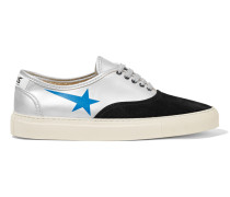 Printed Metallic Leather And Suede Sneakers Silber