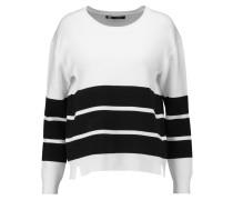 Aliso Striped Stretch-knit Sweater Weiß