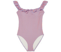 The Amelia Ruffle-trimmed Striped Stretch-seersucker Swimsuit