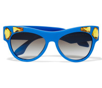 Cat-eye Crystal-embellished Acetate Sunglasses Azurblau