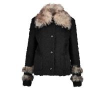 Faux Fur-trimmed Twill Coat Schwarz