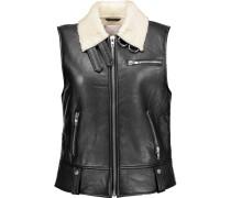 Lisa Faux Shearling-lined Leather Vest Schwarz