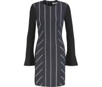 Striped Paneled Twill And Ribbed Stretch-jersey Mini Dress Mitternachtsblau