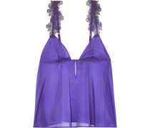 Woman English Rose Embroidered Tulle-trimmed Stretch-silk Chiffon Camisole Purple