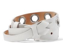 Eyelet-embellished Leather Belt Weiß