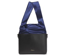 Two-tone Satin And Leather Bucket Bag