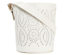 Woman Laser-cut Leather Bucket Bag White