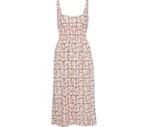 Giovanna Shirred Floral-print Crepe Midi Dress
