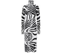 Woman Zebra-jacquard Turtleneck Midi Dress White