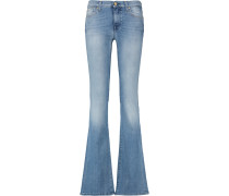 Distressed Mid-rise Bootcut Jeans Heller Denim