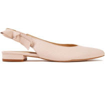 Penelope Bow-embellished Snake-effect Leather Slingback Flats