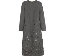 Embellished Brushed-wool Coat Grau