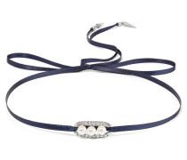 Silver-tone, Crystal And Faux Pearl Choker Rauchblau