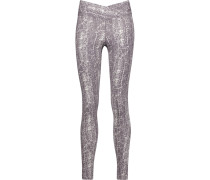 Hannah Printed Cotton-blend Jersey Leggings Brombeere
