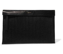 Quilted Leather Clutch Schwarz