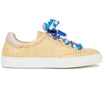 Sneakers aus Twill und Geflochtenem Raffiabast mit Lederbesatz und Print