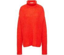 Oversized Open-knit Mohair-blend Turtleneck Sweater
