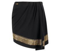 Wrap-effect Embellished Chiffon Mini Skirt Schwarz