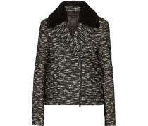 Kingsley Shearling-trimmed Textured Wool-blend Jacket Schwarz
