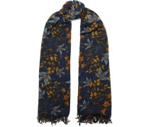 Fringed Floral-print Cashmere And Silk-blend Gauze Scarf