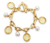 -tone, Enamel And Faux Pearl Bracelet