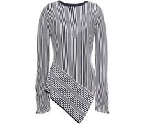 Asymmetrischer Pullover aus Einer Gestreiften Baumwoll-modalmischung mit Pointelle-details