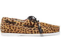 Harpsden leopard-print calf hair boat shoes