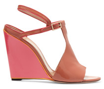 Two-tone Patent-leather Wedge Sandals Pink