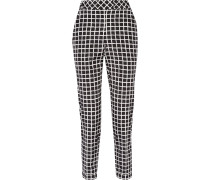 Printed Wool And Cotton-blend Tapered Pants Schwarz