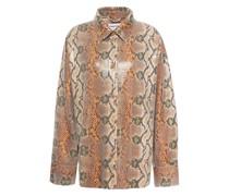 Hemd aus Beschichtetem Jersey mit Schlangenprint