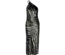 Open-back Draped Zebra-print Velvet Midi Dress