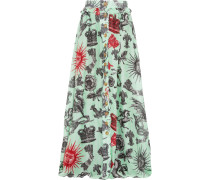 Pleated Printed Silk-chiffon And Linen Maxi Skirt Mehrfarbig