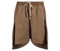 Asymmetric Cotton Shorts Braun
