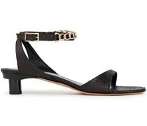 Sandalen aus Leder mit Schlangeneffekt und Kettendetail