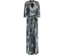 Wrap-effect Printed Sequined Mesh Maxi Dress Silver Size 0