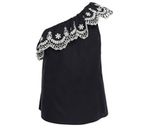 One-shoulder Ruffled Embroidered Cotton Top