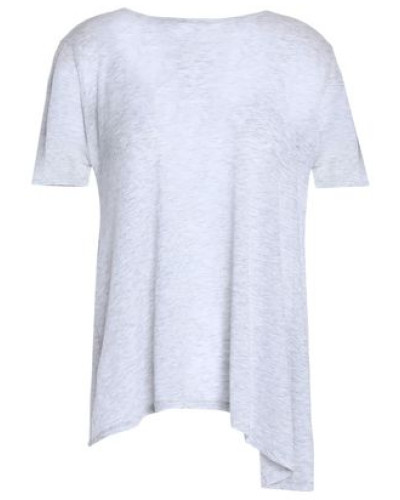 Asymmetric Mélange Cotton Top Light Gray