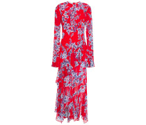Asymmetric Ruffled Floral-print Chiffon Midi Dress