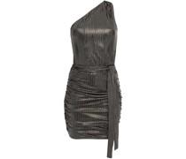Minikleid aus Metallic-rippstrick mit Asymmetrischer Schulterpartie und Raffungen