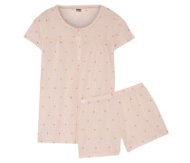 Polka-dot Cotton-jersey Pajama Set Pastellrosa