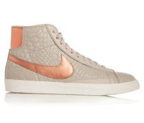 Blazer Croc-effect Leather High-top Sneakers Hellgrau