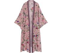 Roberta Verzierter Kimono aus Crêpe De Chine aus Seide mit Floralem Print und Jacquard-besatz