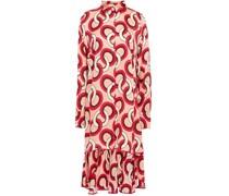 Mercurio Asymmetric Printed Hammered Silk-satin Jacquard Dress